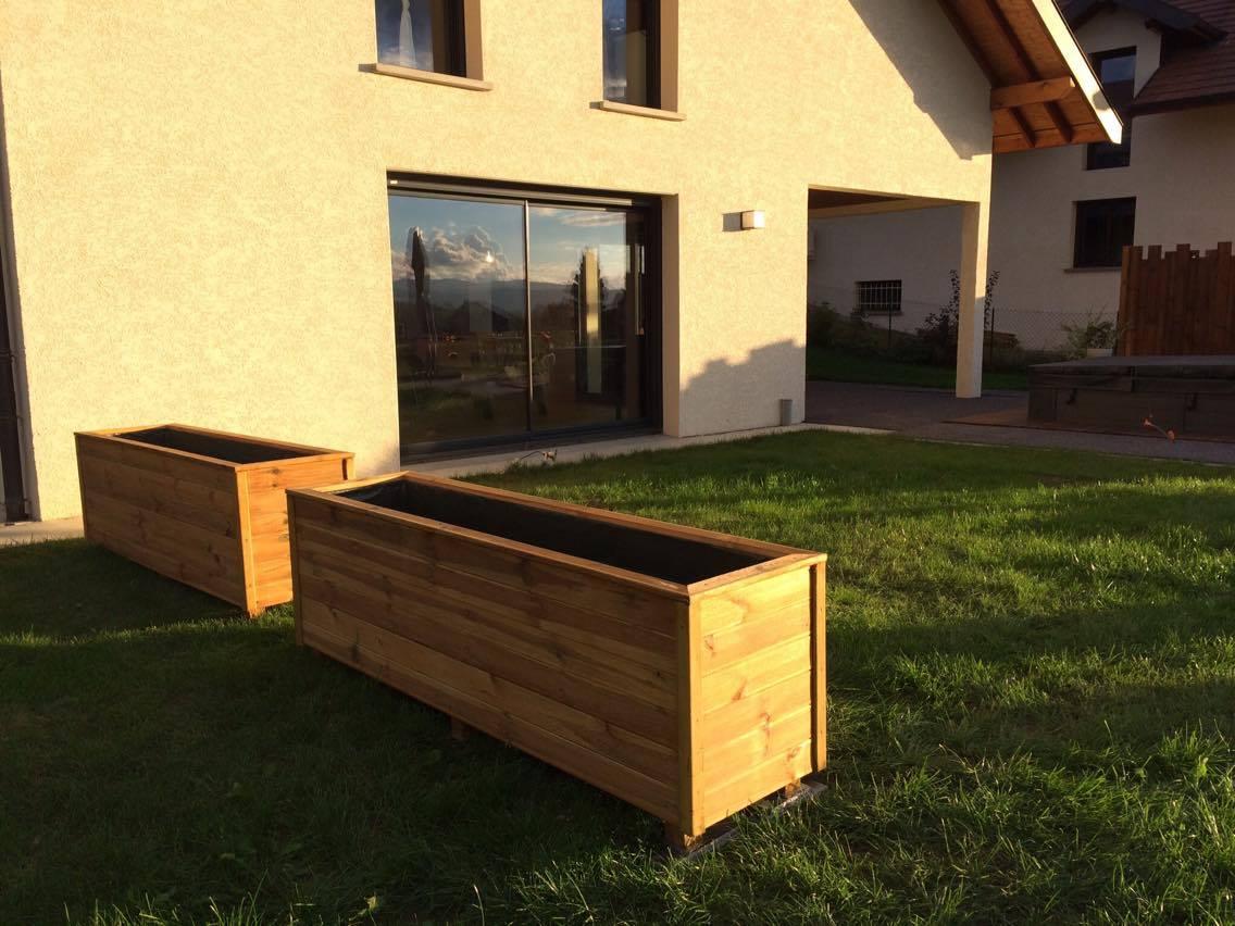 Jardini re rectangulaire en bois 200x50x60 360l compact - Jardiniere xxl ...