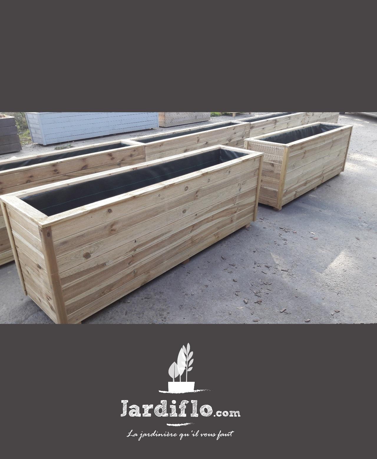 Jardini re rectangulaire en bois 200x50x60 360l compact xxl jardiflo - Jardiniere xxl ...