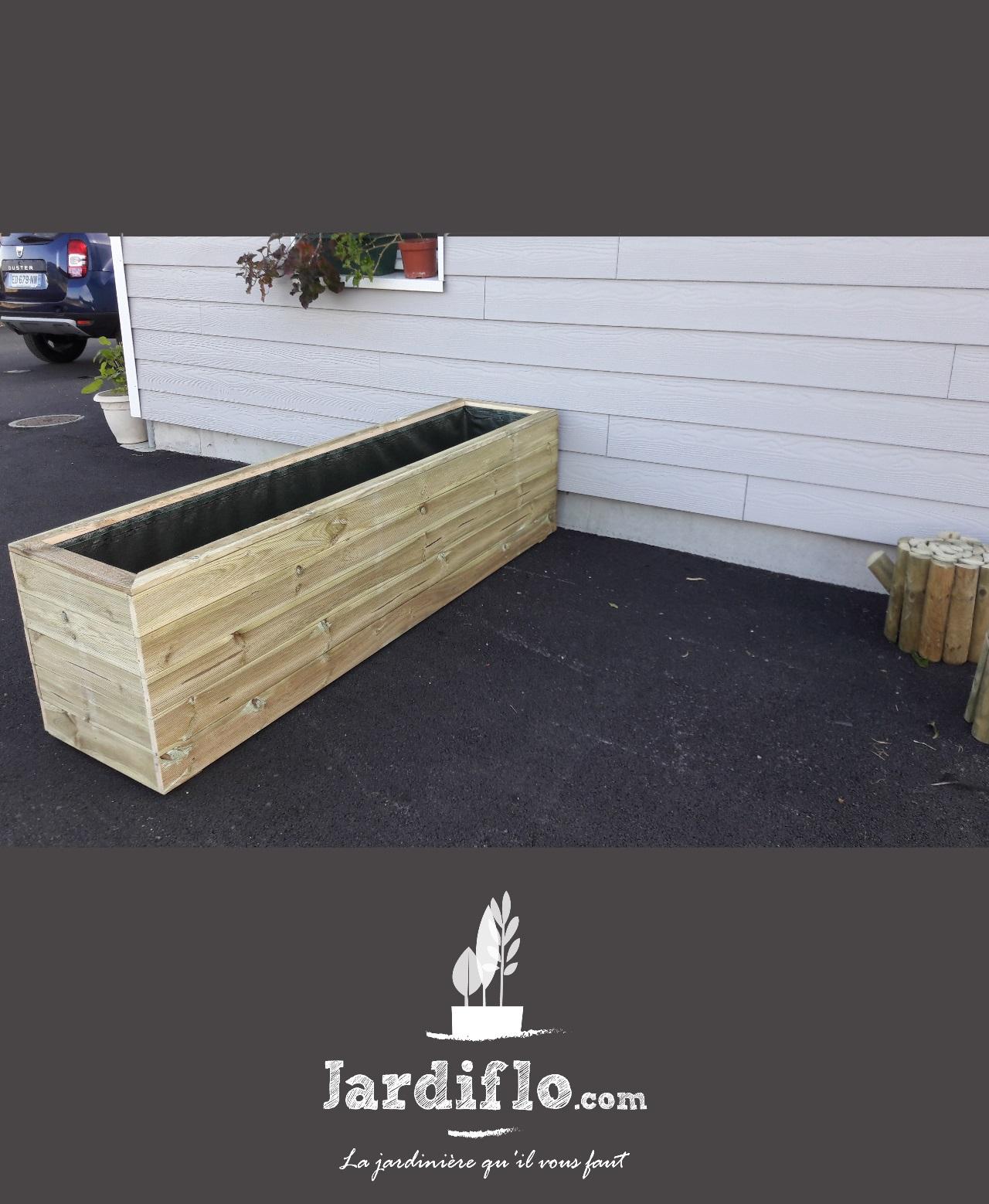 Jardini re rectangulaire en bois 210x50x50 330l standard - Jardiniere xxl ...