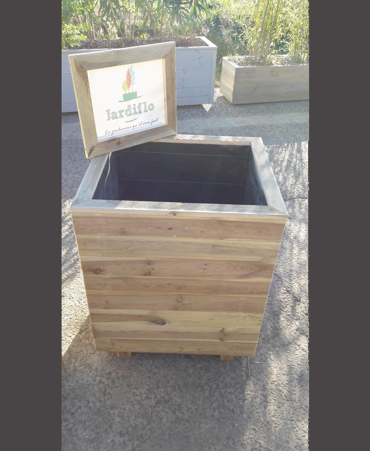 Jardini re carr e en bois 70x60x80 220l xxl jardiflo - Jardiniere xxl ...