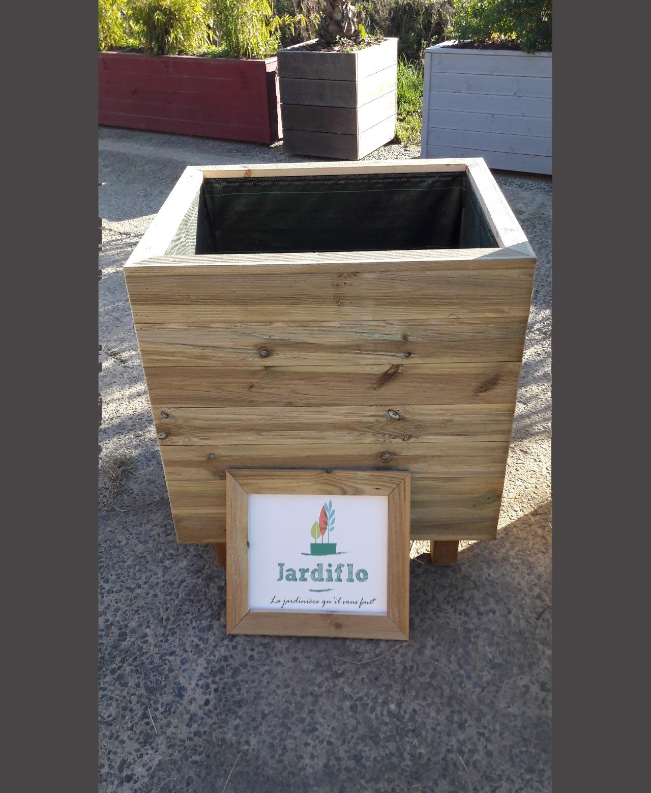Jardini re carr e en bois 80x60x70 220l xxl jardiflo - Jardiniere xxl ...