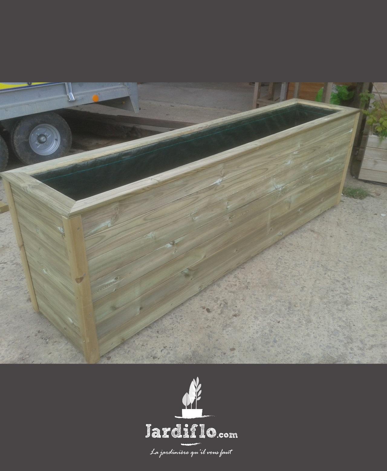 Jardini re rectangulaire en bois 180x50x70 420l compact - Jardiniere xxl ...