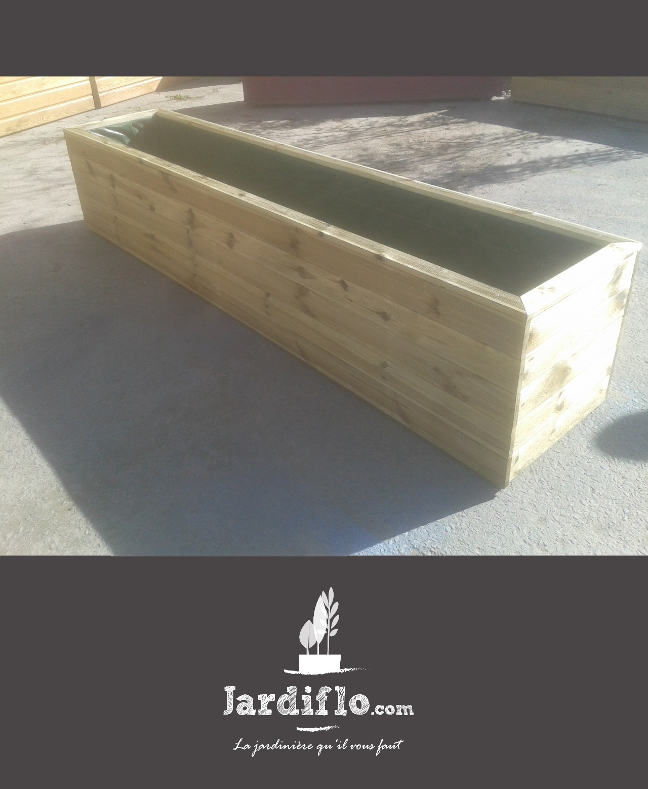 Jardini re 200x50x50 330l standard jardini re rectangulaire jardini re xxl en bois certifi - Jardiniere xxl ...