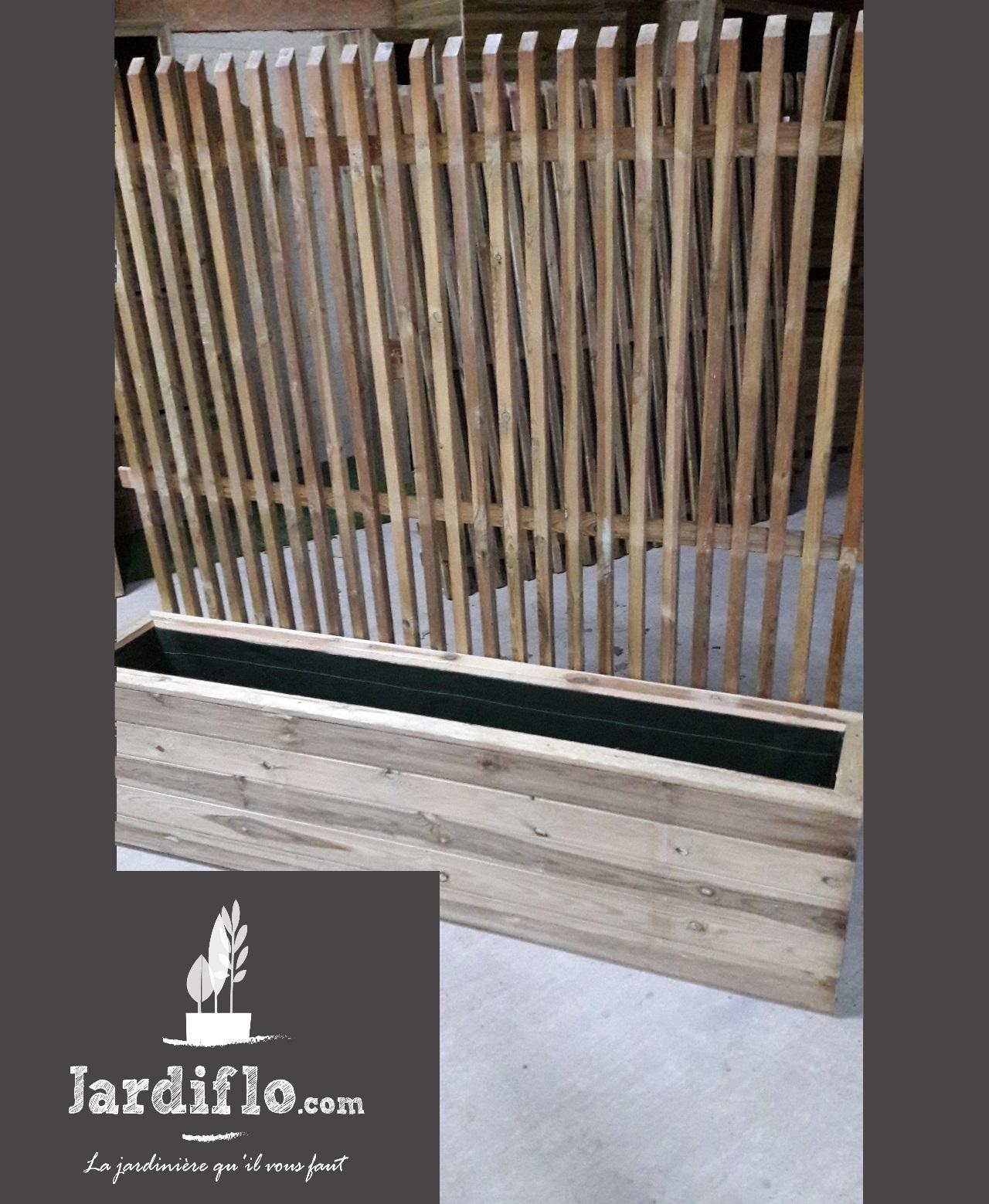 jardini re rectangulaire en bois 180x35x50 180l treillis. Black Bedroom Furniture Sets. Home Design Ideas